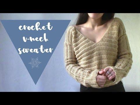 Crochet V-Neck Sweater // Crochet Sweater Tutorial