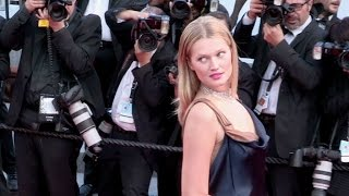 German model Toni Garrn, Luma Grothe and Natasha Poly on the red carpet of Carol in Cannes