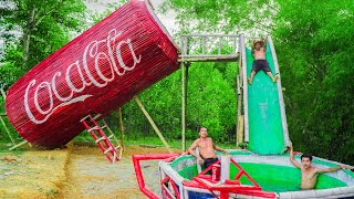 Build Secret House In Giant Coca-Cola With Swimming Pool Water Slide - Primitive Survival