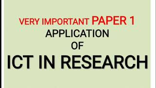 Application of ICT in Research paper 1 NTA UGC NET JUNE 2019