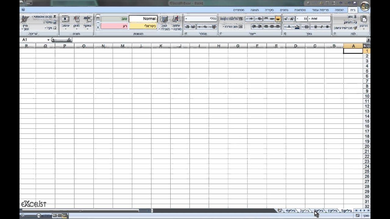 לימוד אקסל שיעור 5 - תאים עמודות ושורות.
