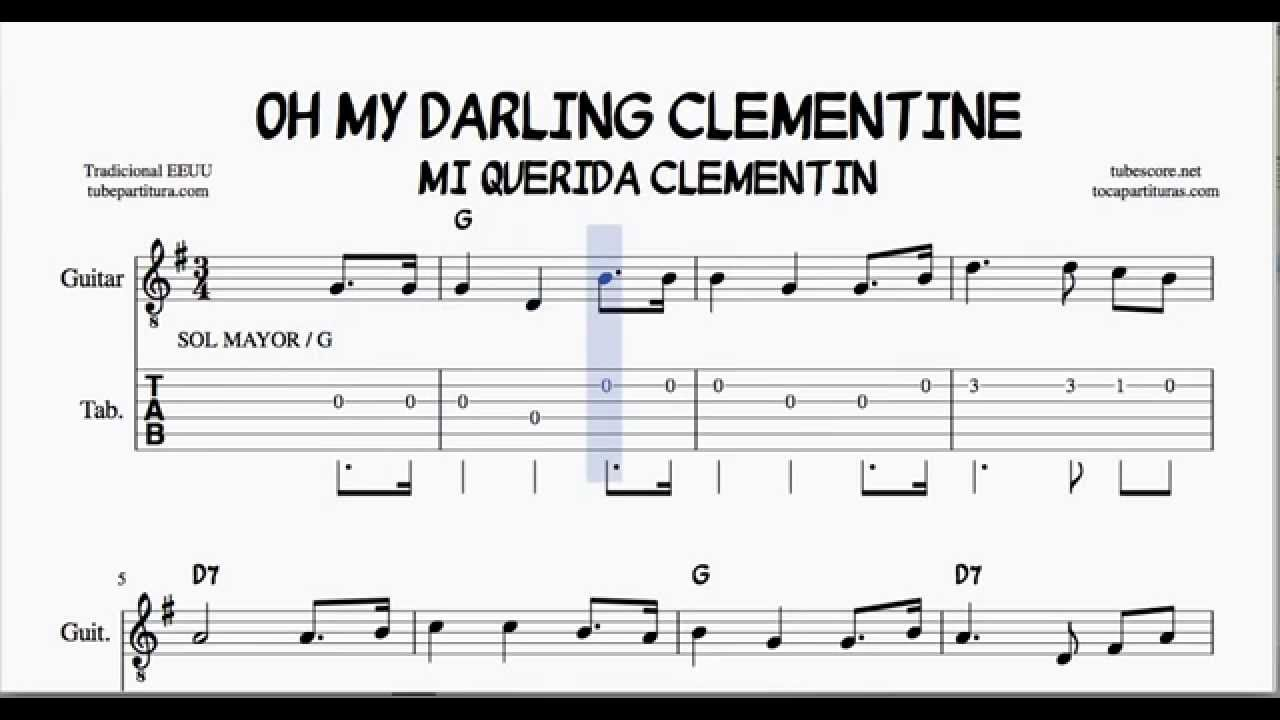 Oh My Darling Clementine G Major Tabs Sheet Music For Guitar With