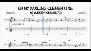 Oh My Darling Clementine G Major Tabs Sheet Music for Guitar with Chords Mi Querida Clementin