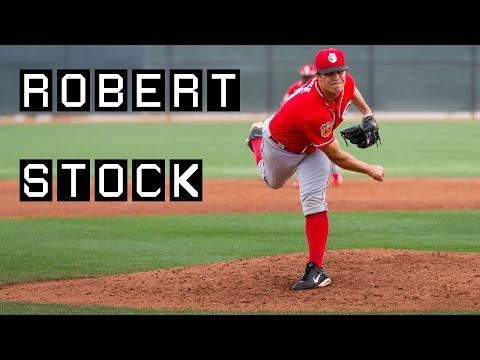Reds Robert Stock pitching in spring training