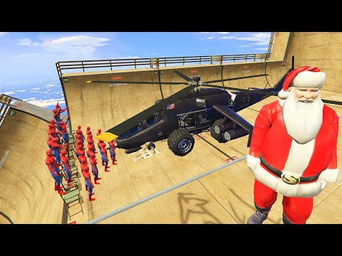 GTA 5 Water Ragdolls Santa Claus Vs SPIDERMAN Jumps/Fails (Euphoria Physics / Funny Moments) Epic