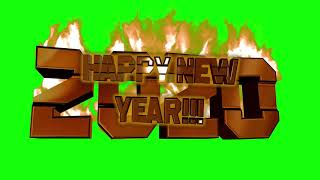 2020 on Fire Happy New Year 3D with green screen for your projects