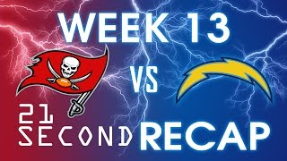 21 Second Recap of the Tampa Bay Buccaneers vs San Diego Chargers Game - Week 13