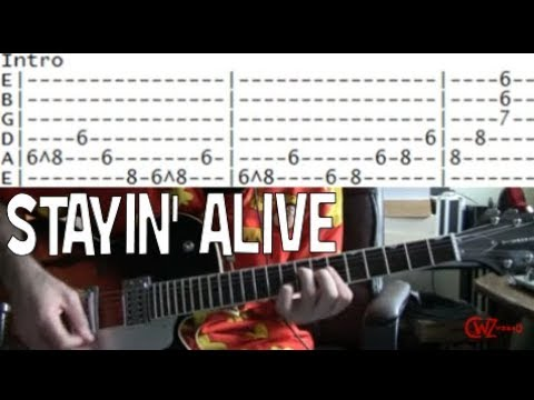 The Bee Gees Stayin\' Alive Guitar lesson tab & chords - YouTube