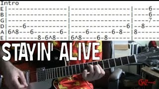 The Bee Gees Stayin' Alive Guitar lesson tab & chords