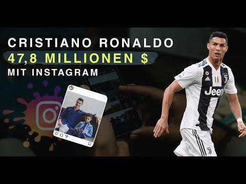 Geld verdienen mit Instagram - Cristiano Ronaldo verdient 47,8 Millionen $ mit Instagram