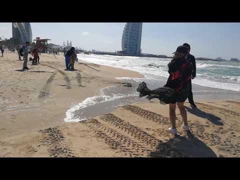 Very Stormy Jumeirah Beach in Dubai 20.02.2019