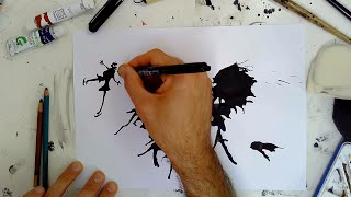 Cer i Greu | Sut i ddarlunio gyda Inc - How to draw with Ink