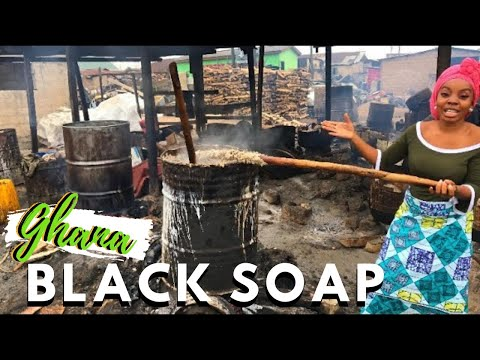 HOW AFRICAN BLACK SOAP IS LOCALLY MADE + WHITE SOAP, RAW GHANA BLACK SOAP MAKING, Ghana Vlog