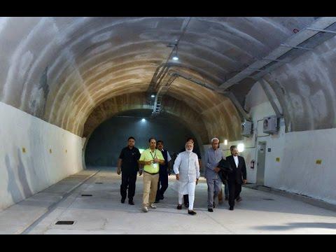 PM Narendra Modi visits the Chenani Nashri Tunnel, Jammu & Kashmir