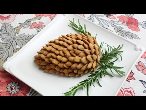 Holiday Pine Cone Cheese Ball - How to Make a Garlic & Herb Cheese Spread Pine Cone