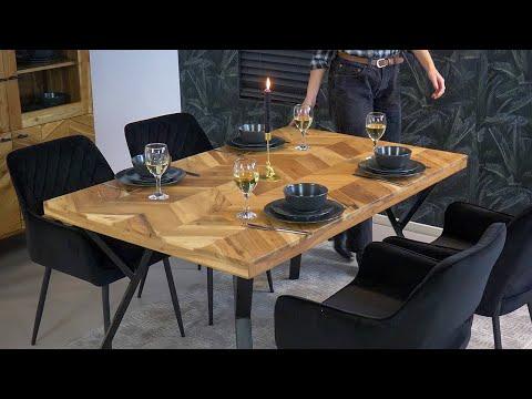Industriële eettafel visgraat Hunter acaciahout 140 x 90 cm