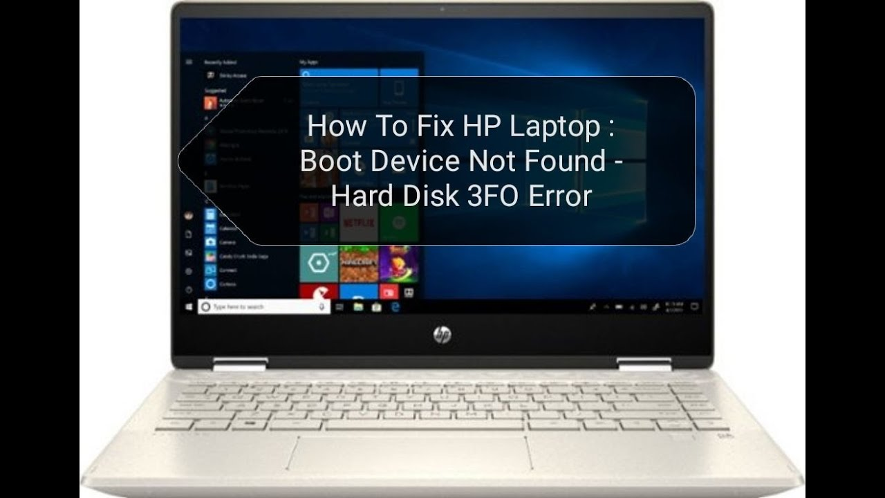 How To Fix Hp Laptop Boot Device Not Found Hard Disk 3fo Error Youtube