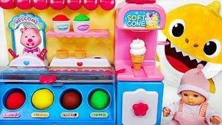 Baby Shark vs Baby doll vs Pororo Ice cream making battle! Which is the best? - PinkyPopTOY