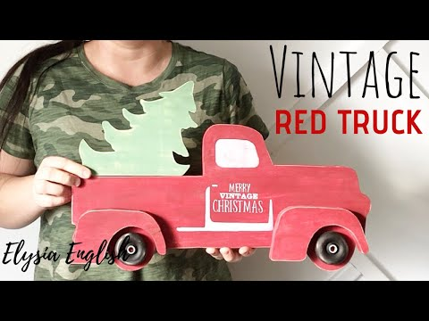Vintage Red Truck   Scroll Saw Project   Holiday Decor DIY   Christmas Decor Handmade
