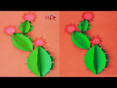 How to make a 3d cactus tree out of paper   Artificial cactus wall decor   Paper flower wallmate