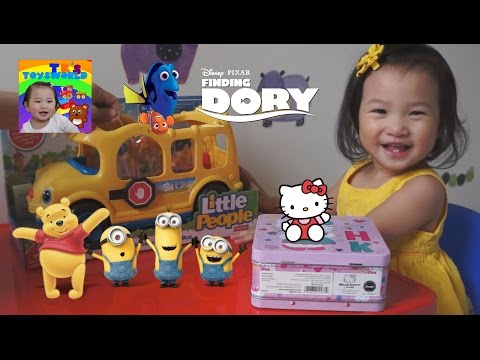 LITTLE PEOPLE SCHOOL BUS AND DISNEY TSUM TSUM FIND DORY MINIONS WINNIE THE POOH HELLO KITTY TOYS