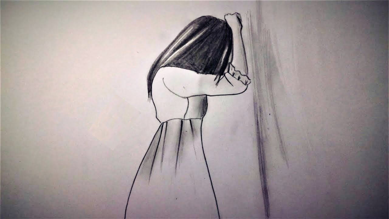 How to draw a sad girl step by step pencil sketch drawing by srk drawing