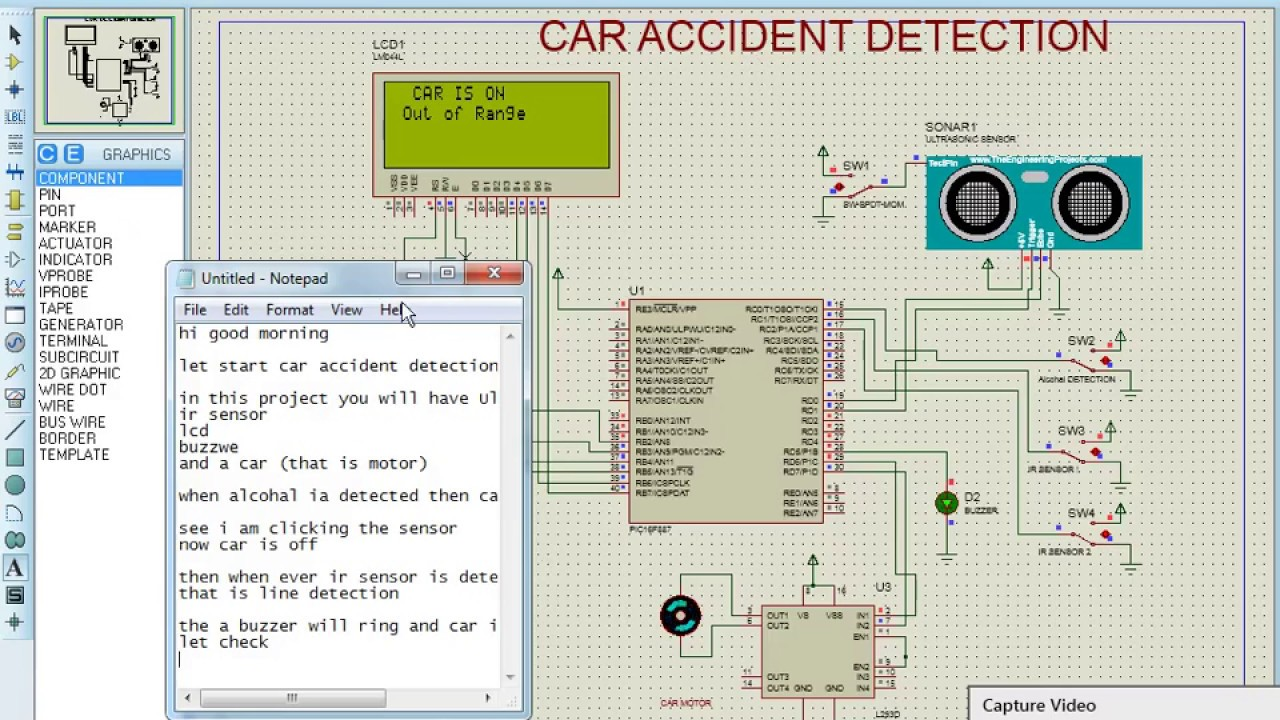 Car accident detection using proteus - YouTube