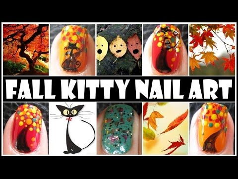 FALL NAIL DESIGNS - FALL KITTY ANIMAL NAIL ART TUTORIAL HALLOWEEN BLACK CAT NAIL STICKERS AUTUMN