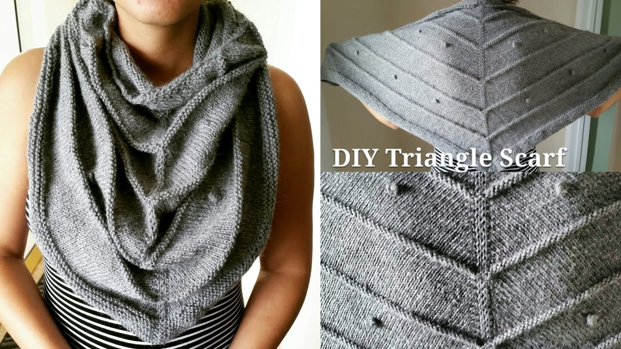 How To Knit A Triangle Scarf Fast Easy Youtube