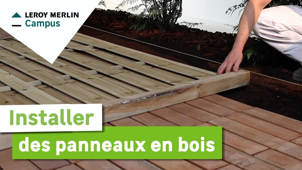 comment installer des panneaux en bois leroy merlin youtube. Black Bedroom Furniture Sets. Home Design Ideas