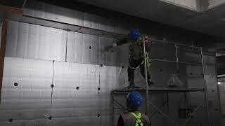 고층 빌딩 외단열 시공 47-201 스타코 마감, PF…