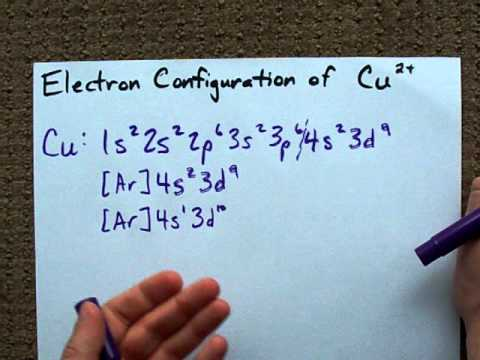 What is the electron Configuration of Cu2 ?  YouTube