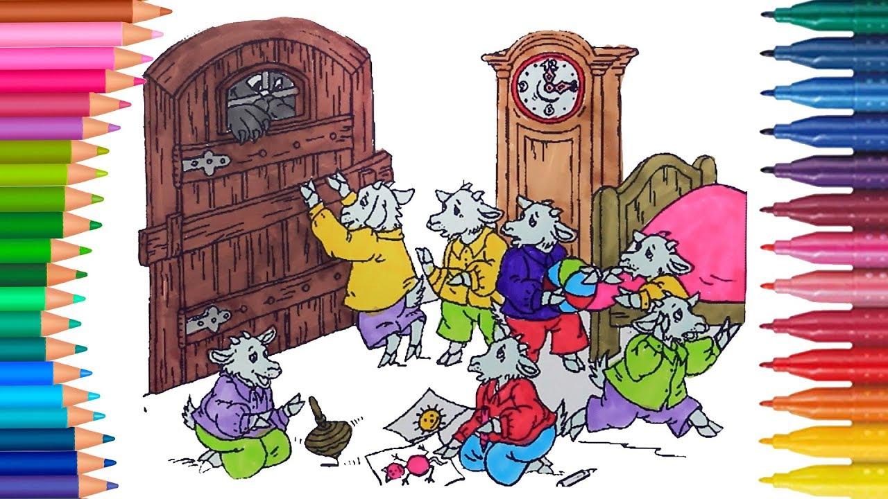 El Lobo Y Los Siete Cabritos Juego De Pintar Con Cancion Manos Pequeñas Dibujos Para Colorear