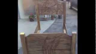 Wood Carved Flower Bed (twin Size)
