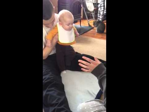 Cute 5 Month Old Baby Kicking Soccer Ball Youtube