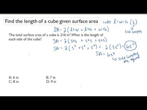 Find The Length Of A Cube Given Surface Area Youtube
