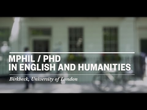 Studying for a PhD in English and Humanities at Birkbeck, University of London