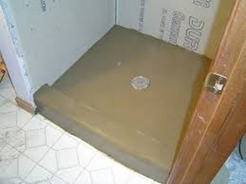 how to build a stand up shower base Installing Mortar Shower Pan Video   YouTube how to build a stand up shower base