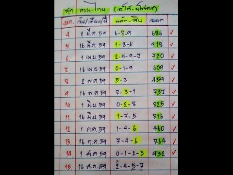 สถิติสูตรย้อนหลังดับ 18 งวดซ้อนหวยเด็ด งวด 1/9/59