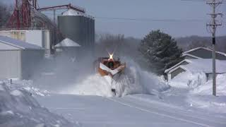 Train Snow Plowing Action in Minnesota