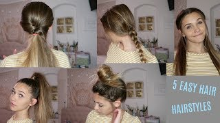 5 QUICK AND EASY HAIR STYLES!