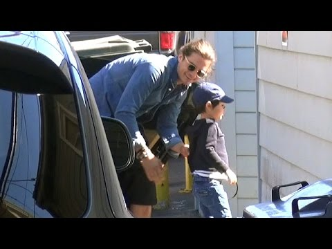 X17 EXCLUSIVE - Orlando Bloom Takes Son Flynn To Super Bowl Party In Malibu