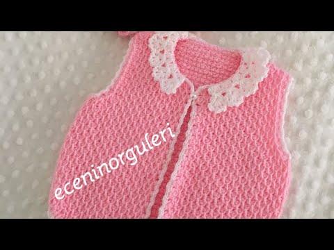 Tunusişi  Kızbebek Yeleği Nasıl Yapılır/#şık ve #kolay/easy Baby crochet cardigan /vest