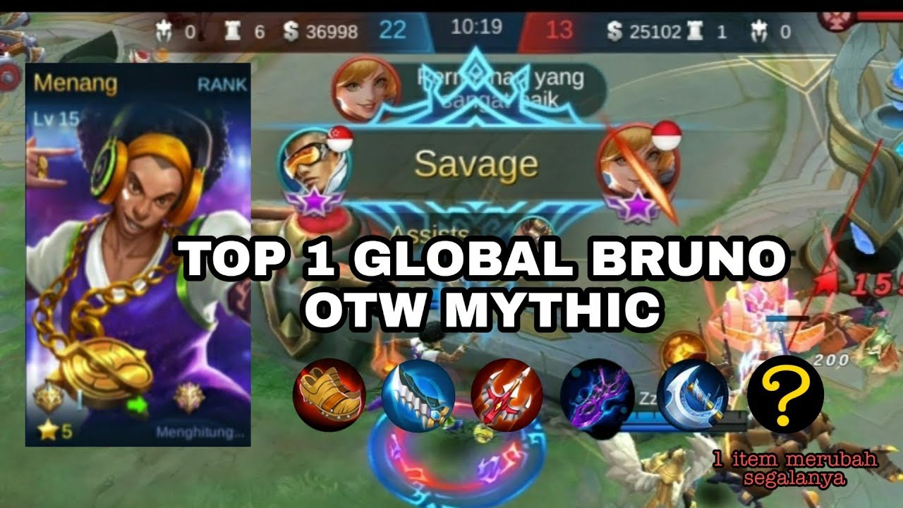 Otw Mythic!!!GamePlay Bruno Best Dj By ᴛᴇʀʀᴀ. SAVAGE