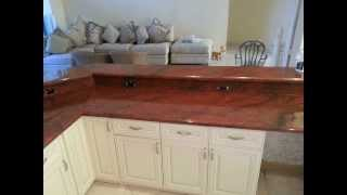 411 Kitchen Cabinets & Granite. Antique White kitchen cabinets and red dragon Granite