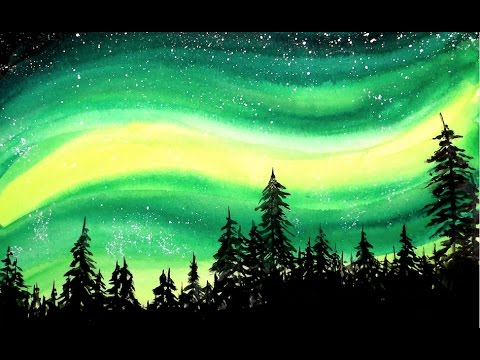 Simple Aurora Forest Galaxy Watercolor Painting