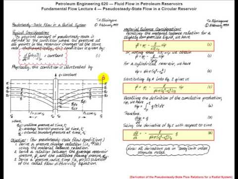 Pseudo Steady (PSS) Flow, Circular Reservoir - Fluid Flow in Petroleum Reservoirs