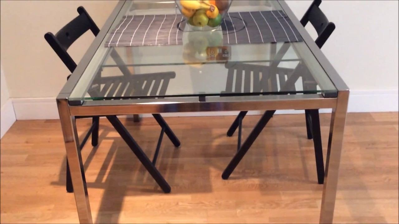 ikea glass dining extendable table glivarp