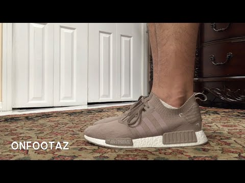 2ca9d29d4426d Adidas NMD R1 PK PrimeKnit French Beige Vapour Grey On Foot - YouTube