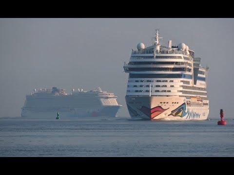 4K | Meyer Werft Shipyard Cruise Ship Parade at Port Rostock Warnemuende